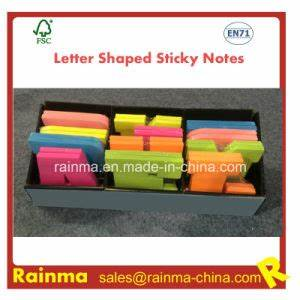 china letter shaped sticky notes in display box packing With letter shaped sticky notes