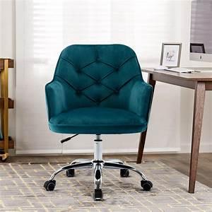 Velvet, Desk, Chair, Modern, Upholstered, Arm, Chair, With, Silver, Base, Ergonomic, Accent, Mid, Back