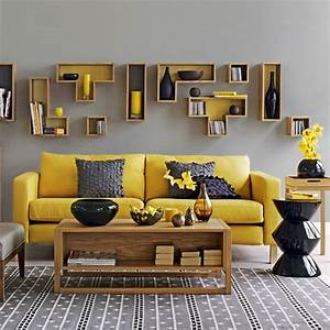Yellow and grey living room contemporary living rooms for Grey and yellow room