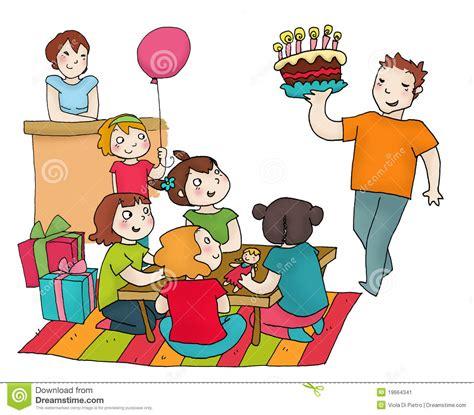 happy birthday party  friends stock illustration