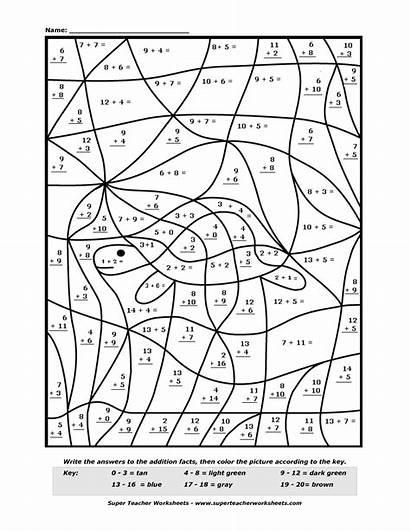 Number Addition Math Coloring Worksheets Worksheet Printable
