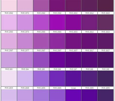 Shades Of Purple Color Chart With Names Airsentryinfo