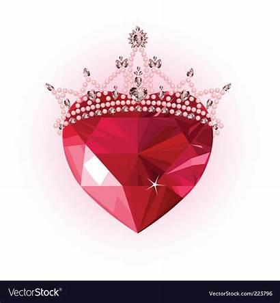 Heart Crystal Crown Vector Royalty