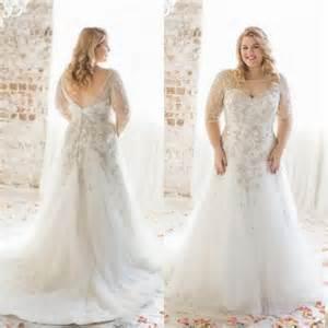 sleeve plus size wedding dress charming plus size wedding dresses with half sleeves illusion a line sheer bateau neckline