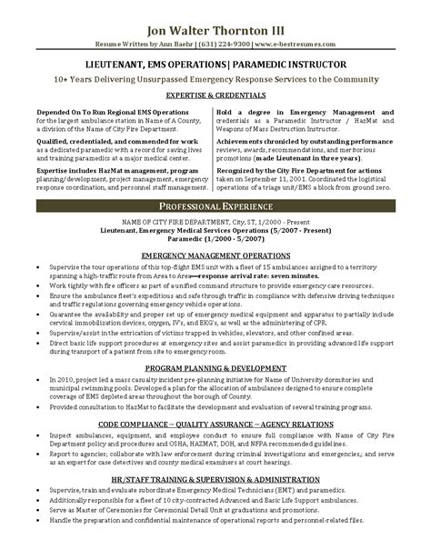 ems management lieutenant paramedic instructor resume sle