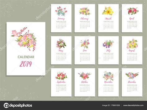 calendario de imprimir flores muito coloridas vetores