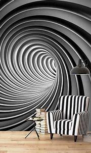 Black and white spiral lines, swirl, 3d, custom wall mural ...