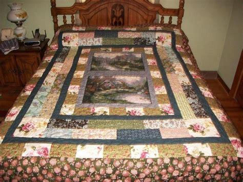 handmade lovely stripped custom quilt with kinkade