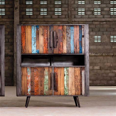 chariot de cuisine meuble de rangement teck et métal style industriel