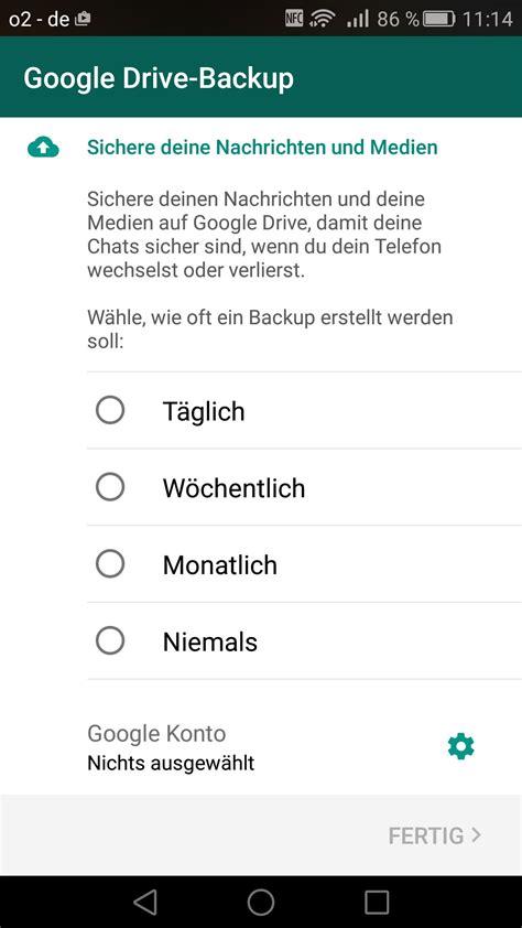whatsapp backup mit google drive  funktionierts