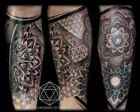 mandala dotwork leg sleeve tattoo mandalas tattoos
