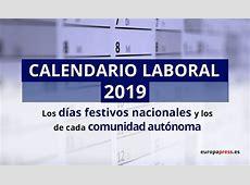 Calendario laboral de 2019 los festivos por comunidades