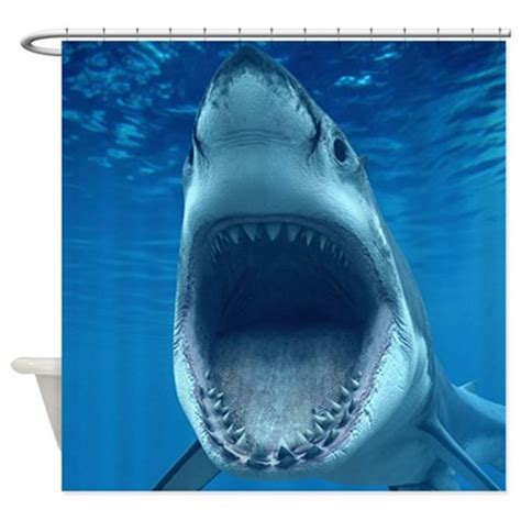 jaws shower curtain big white shark jaws shower curtain by wickeddesigns4