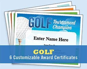 golf certificates templates recognition  awards