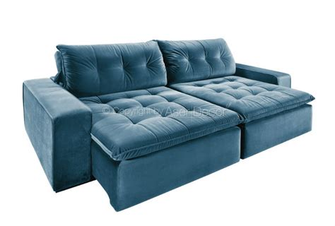sofa retratil e reclinavel sofá retrátil reclinável merpe 3 lugares veludo azul sala home