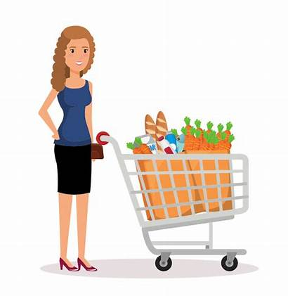 Shopping Clipart Supermarket Lady Uploaded Clipartmag Users