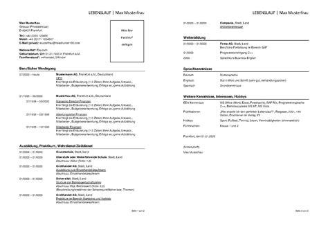 Kurzer Lebenslauf Muster by 9 Lebenslauf Muster 2014 Sporting Lincs