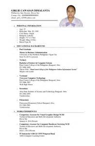 personal information in resume philippines sle resume