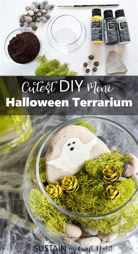 cutest diy halloween terrarium sustain  craft habit