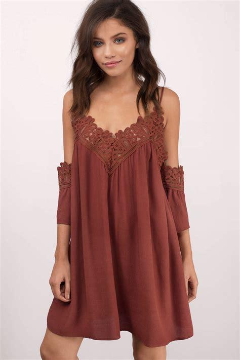 Swing Dresses by Dress Cold Shoulder Dress Half Lace Dress