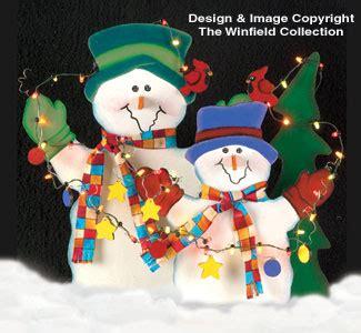 snowmen lighted snowmen wood pattern