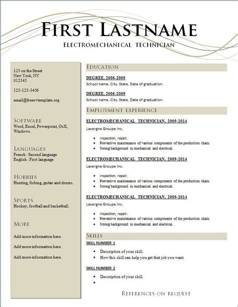 resumes free resume templates 2015 and best action words