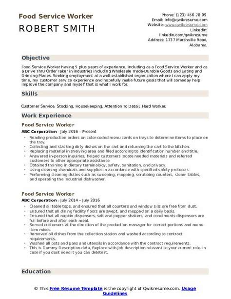 food service worker resume samples qwikresume