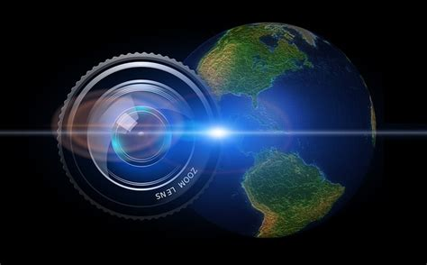 illustration lens camera earth globe usa