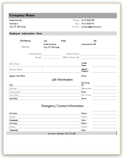 employment information sheet employee information forms for ms word excel word