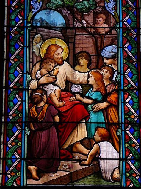 de vitraux jesus benissant les enfants
