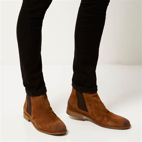 river island tan brown suede ruched chelsea boots  brown  men lyst