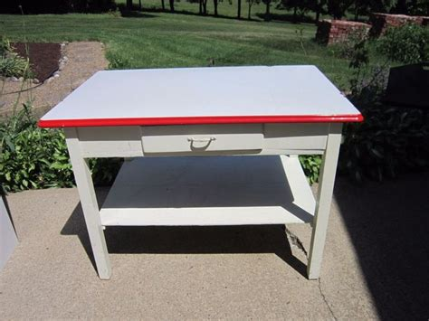 antique metal top kitchen table porcelain enamel top farm work kitchen pastry baking table 7481