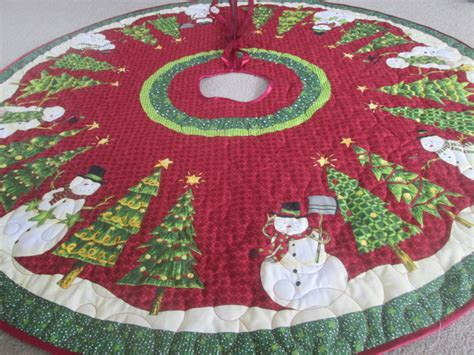christmas tree skirt snowman and christmas treequilted and