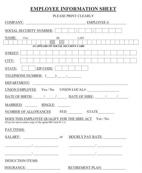 employment information sheet employee information sheet carbon materialwitness co