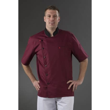 veste cuisine pas cher veste cuisine bordeaux manches courtes mzmc06t