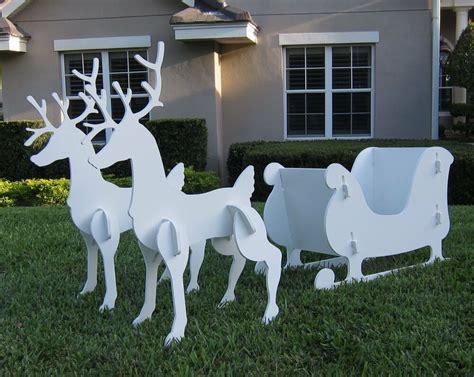 santa sleigh reindeer set christmas outdoor yard decor