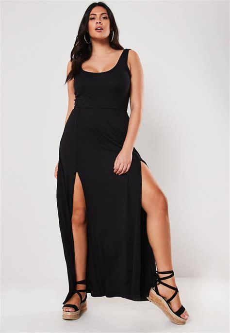Plus Size Black Double Split Maxi Dress | Missguided