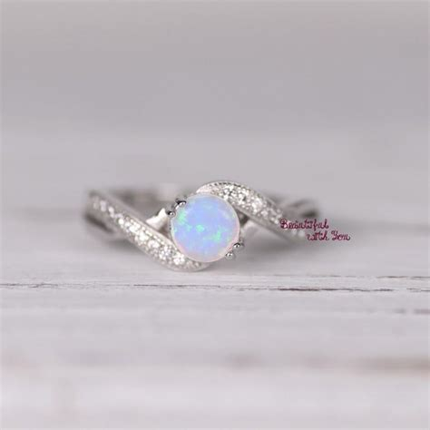 Opel Rings by Womens Sterling Silver White Opal Ring Silver Opal Ring