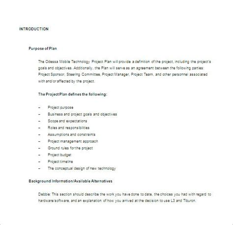 project plan templates word  excel apple pages