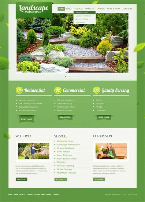 garden planning website landscape design psd template 41514