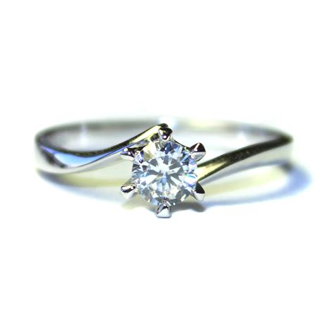 cheap silver rings curved solitaire promise ring white cubic