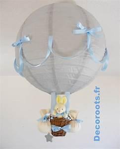 Luminaire Bébé Garçon : lampe montgolfi re gar on p cheur d 39 toiles gris bleu ciel enfant b b luminaire enfant b b ~ Teatrodelosmanantiales.com Idées de Décoration