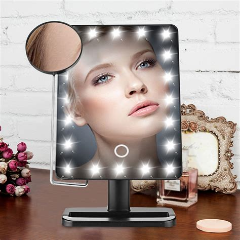 light up makeup mirror portable touch screen 10x magnifier led makeup lighted