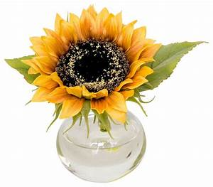 Faux Sunflower in Bubble Vase - Traditional - Artificial