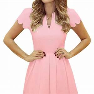 Lovely Short Sleeve Pleated Pink Skater Dress - Online ...