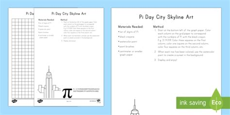 Pi Day City Skyline Art Activity