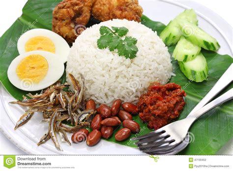 rice cuisine nasi lemak coconut rice malaysian cuisine stock