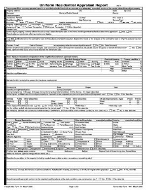 1004 form uniform residential appraisal report fillable edit