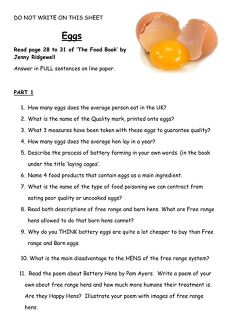 food technology ks3 cover lesson eggs and protein by