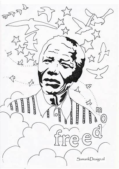 Mandela Nelson Coloring Famous Pages Colouring History